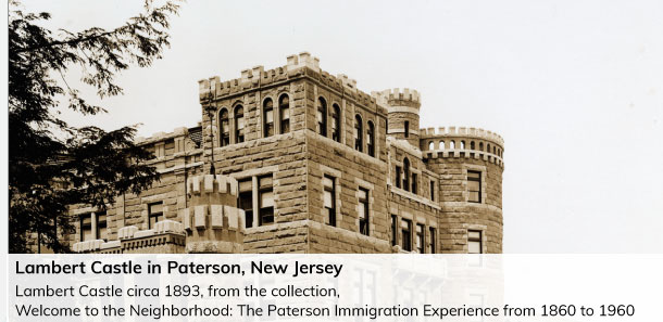 Lambert Castle in Paterson New Jersey. Top tower and roof with crennelations image circa 1983